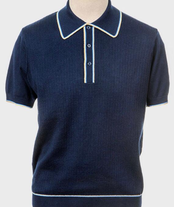 Art Gallery Knitted Polo Shirt. Style: Woody Navy