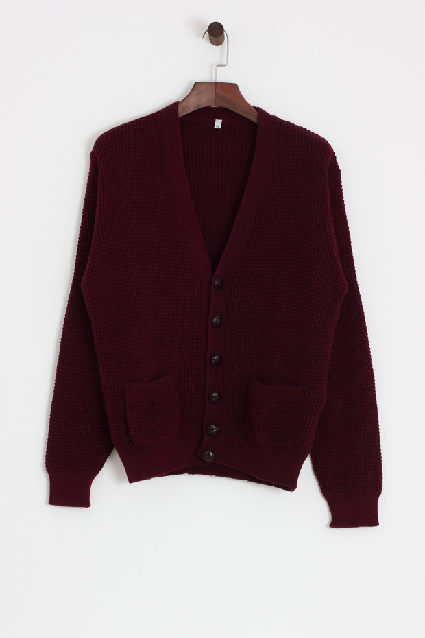 Relco - Waffle Cardigan Burgundy - Rat Race Margate