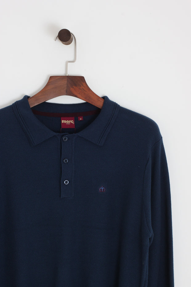 Merc - Merc Collier Knit Polo. Navy - Rat Race Margate