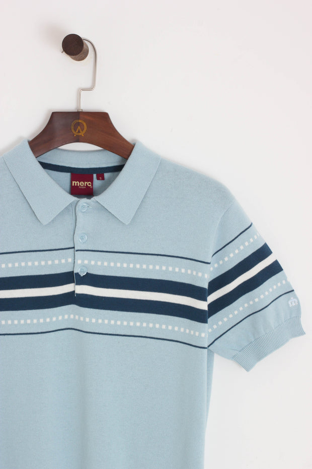 Merc - Tanner Chest Stripe Polo Sky - Rat Race Margate