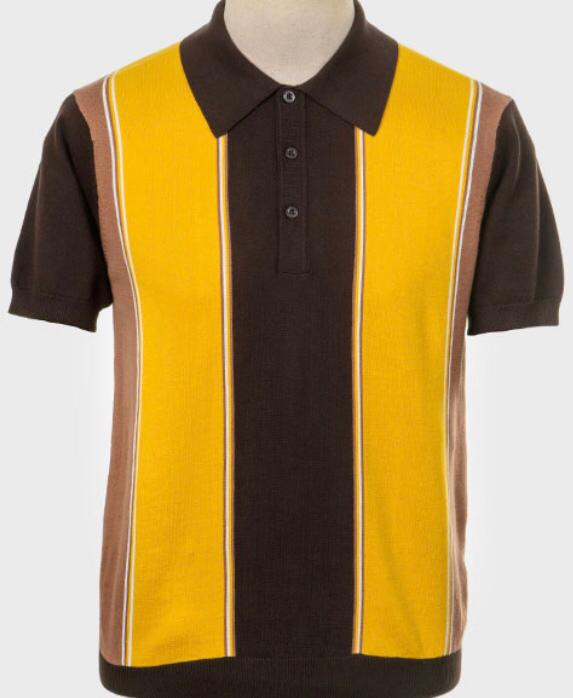 Art Gallery Short Sleeve Knitted Polo. Style: Kent Brown