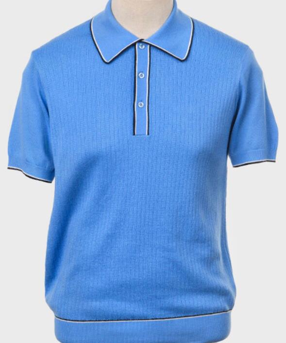 Art Gallery Knitted Polo Shirt. Style: Woody Sky Blue
