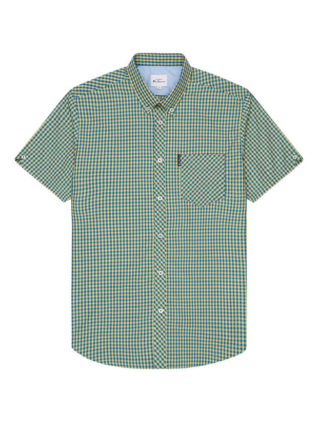 Ben Sherman Short Sleeve House Gingham Shirt. Yellow