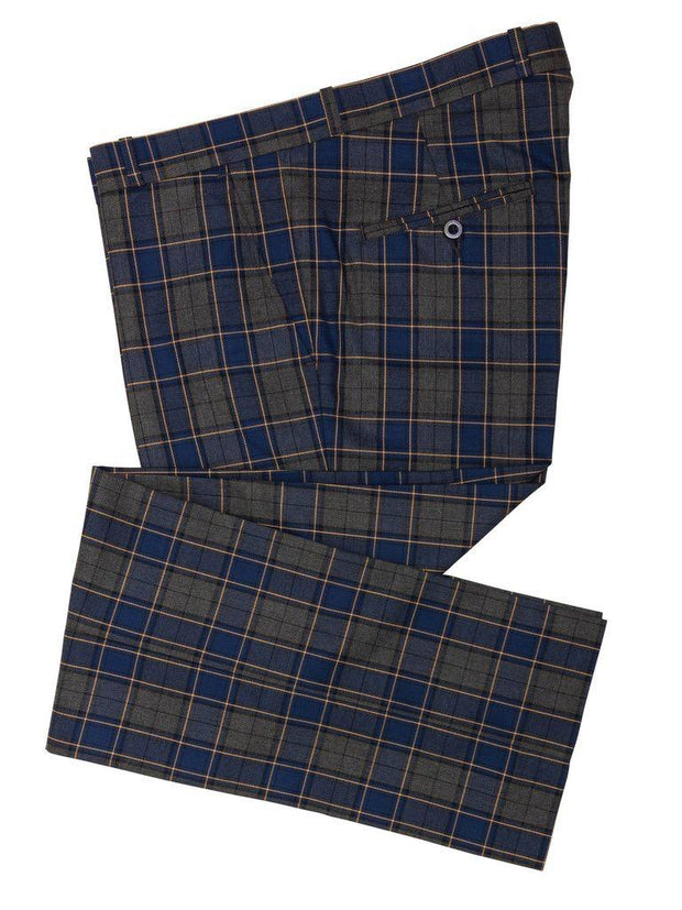 Relco - Men's Grey and Blue Tartan Sta Prest Trouser - Rat Race Margate