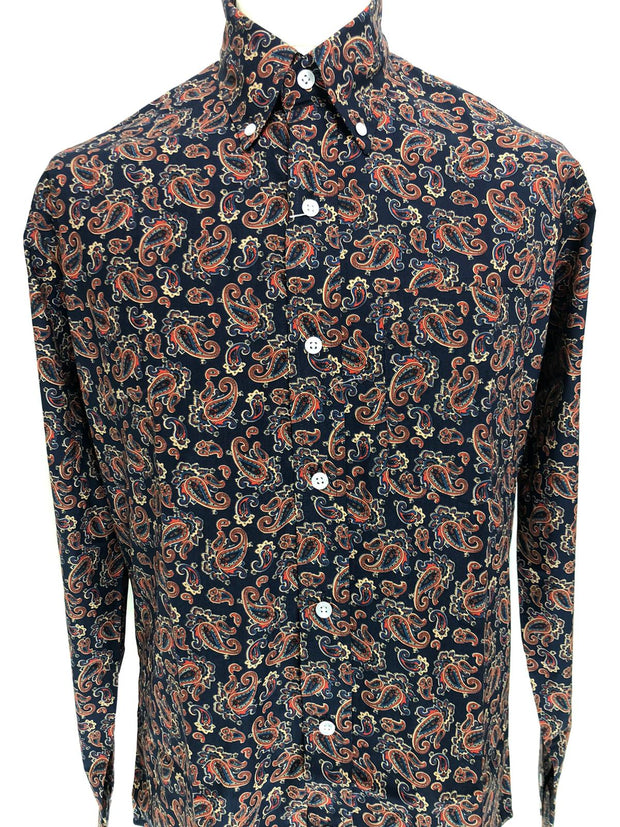 Mens Long Sleeve Paisley Pattern Shirt. Blue