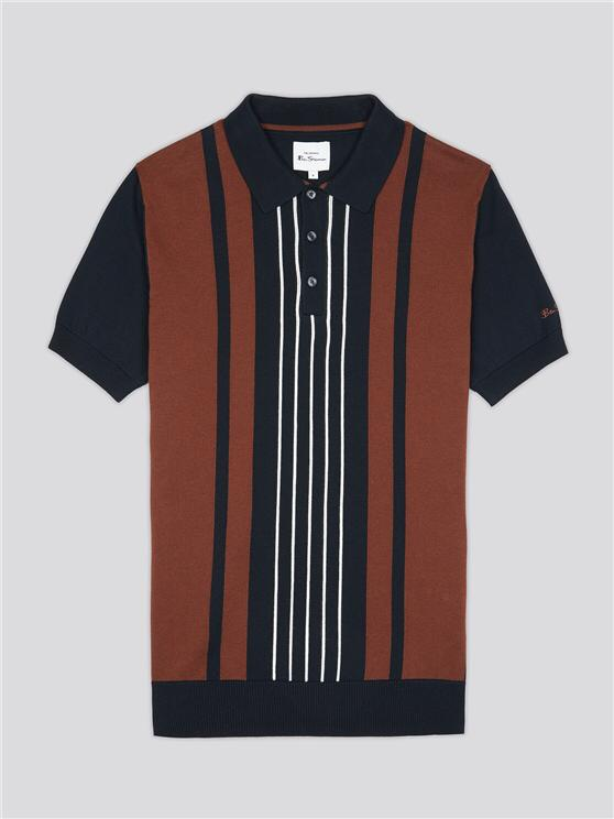 Ben Sherman Mod Stripe Short Sleeve Polo. Black