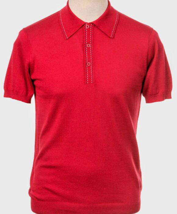 Art Gallery Short Sleeve Knitted Polo. Style: Byrd Red