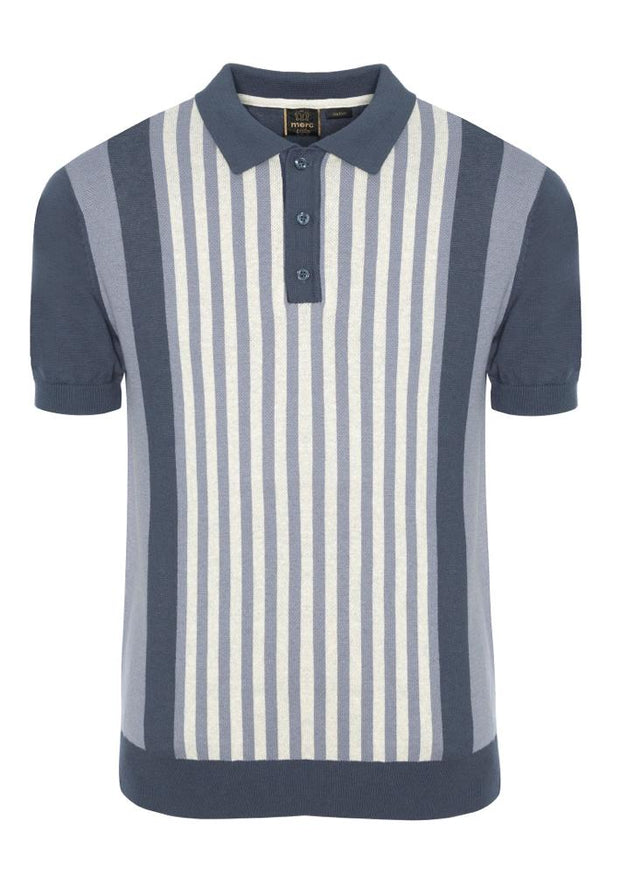 Merc Northbrook Knit Polo. Slate Blue