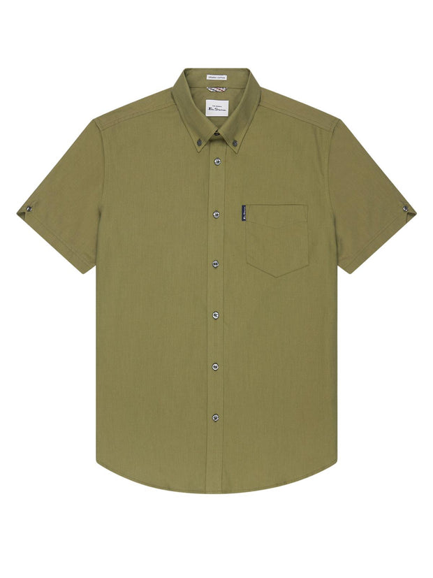 Ben Sherman Organic Cotton Oxford Shirt. Olive