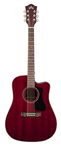 Guild D-125CE Mahogany Dreadnought Cutaway Acoustic-Electric Guitar with Case - Cherry Red
