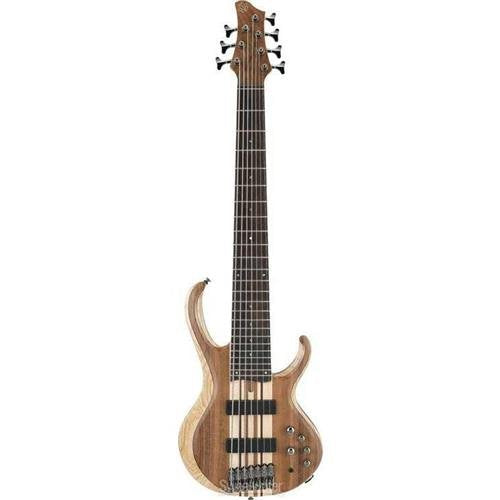 Ibanez BTB747 7 string Electric Bass Guitar with Mahogany-backed Ash Wings, Walnut Top2 Humbucking Pickups and 3-band Active EQ - Natural Flat Low Gloss