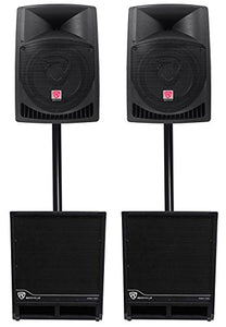 "(2) Rockville RPG12 12"" Powered 1600w DJ PA Speakers+(2) 15"" Powered Subwoofers"