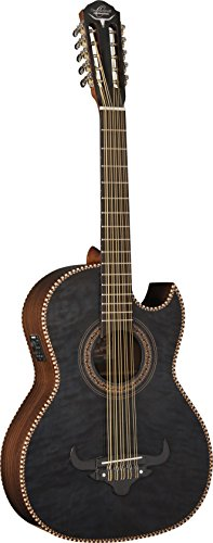 Oscar Schmidt 10 String OH32SE Acoustic-Electric Bajo Quinto with Deluxe Gig Bag-Quilt Trans Black, Quilt Black (OH32SEQTB-O)