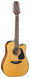 Takamine GD30CE-12NAT Dreadnought 12-String Cutaway Acoustic-Electric Guitar with Takamine Gig Bag and Tuner
