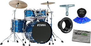 Tama PS42SLOR Starclassic Performer B B 4pc Shell Pack (Lacquer Ocean Blue Ripple Finish) w/Polish Cloth, Moogel, Drum Key, and Kickport