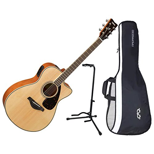 Yamaha FSX820C Cutaway Natural Solid Sitka Top Acoustic Electric Guitar w/ Gig Bag and Stand