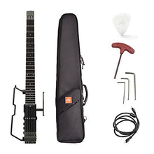 ammoon Portable Travel Electric Guitar Headless ALP FT-221S Built-in Tuner Headphone Amplifier Rechargeable Lithium Battery with Gig Bag