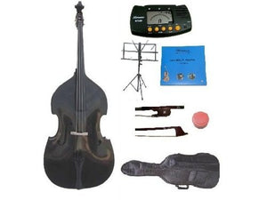 GRACE 4/4 Size Black Upright Double Bass with Bag,Bow,Bridge+2 Sets Strings+Rosin+Music Stand+Metro Tuner