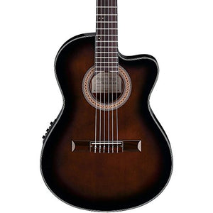 Ibanez GA35TCE Thinline Classical Acoustic-Electric Guitar with Dark Violin Sunburst Finish with Ibanez AEG10C Hardshell Case for AEG Guitars