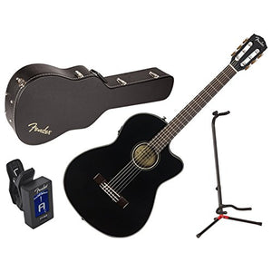 Fender 0962714206 CN-140SCE BLK Classical Acoustic Electric Guitar w/Case, Stan