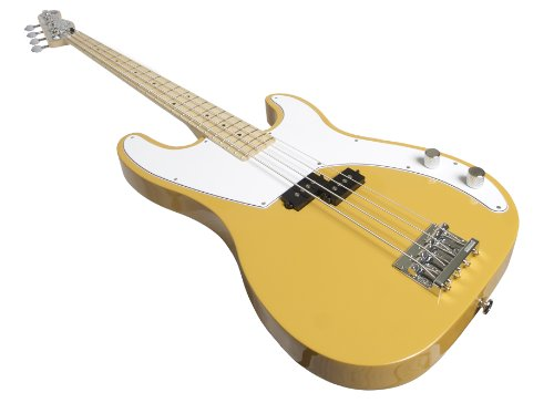 Normandy Guitars ALCB-SB-MPL 4-String Bass Guitar with Maple Fretboard, Schoolbus Yellow