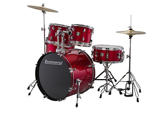 Brand New Ludwig Accent Fuse 5-Piece Drum Set (LC1704) with a Red Finish - Includes: Hardware, Throne, Pedal, Cymbals, Sticks & Drum Key