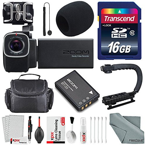 Zoom Q8 Handy Video Recorder with 16GB SDHC, Pro Video Grip and Deluxe Accessory Bundle with Cleaning Kit