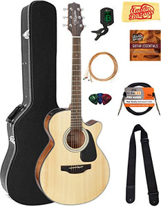Takamine GF30CENAT FXC Cutaway Acoustic-Electric Guitar - Natural Bundle with Hard Case, Cable, Tuner, Strap, Strings, Picks, Austin Bazaar Instructional DVD, and Polishing Cloth
