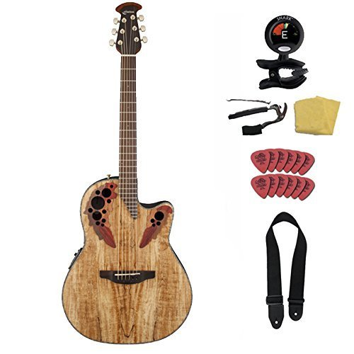 Ovation CE44P-SM Spalted Maple Guitar Vault Package with Ovation Gig Bag and Accessory Pack