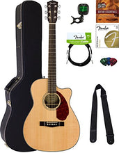 Fender CC-140SCE Concert Acoustic-Electric Guitar - Natural Bundle with Hard Case, Tuner, Strap, Strings, Picks, Instructional DVD, and Austin Bazaar Polishing Cloth