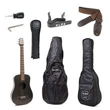 KLOS Black Carbon Fiber Travel Acoustic Electric Guitar Package (Guitar, Gig Bag, Strap, Capo, and more)