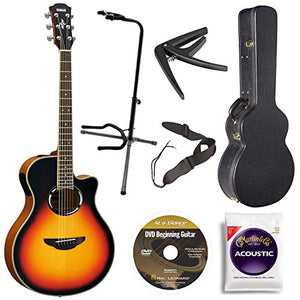 Yamaha APX500IIIVS Acoustic Electric Cutaway Guitar, Vintage Sunburst Bundle with Hardshell Guitar Case, Guitar Stand, Beginner DVD, Strap, Capo and Guitar Strings