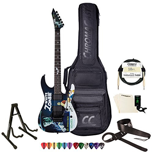 ESP Kirk Hammett Signature White Zombie Graphic Electric Guitar with Gig Bag & Accessories