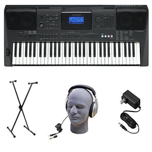 Yamaha PSRE453 Portable Keyboard with Headphones, Power Supply, X-Style Stand