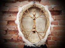 "25"" Tambourine Siberian Shamanic Egg with fur Drum Frame Handcrafted"