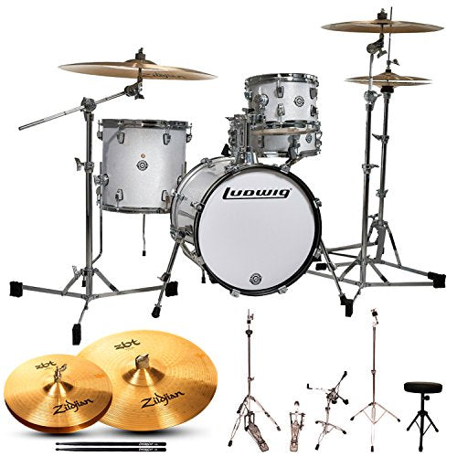 Ludwig Breakbeats by Questlove 4-Piece Starter Drum Set with Cymbals and Accessories, White Sparkle