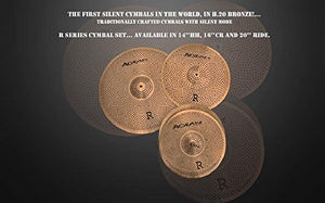 Agean Cymbals Silent R-Series Low Volume Cymbal Pack Box Set (14HH/16CR/20R) R-SET