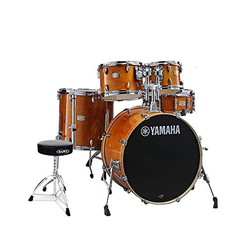 Yamaha SBP2F50HA Stage Custom Birch Acoustic 5-Piece Shell Drum Pack Set in Honey Amber Finish with Double Brace Round top Drum Throne