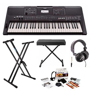 Yamaha PSRE463 61-Key Portable Keyboard with Knox Stand, Bench, Headphones and Survival Kit (includes Power Adapter)