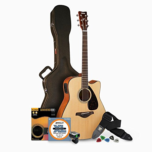 Yamaha FGX800C Solid Top Folk Acoustic-Electric Guitar - Natural with Hard Case and Accessories Bundle