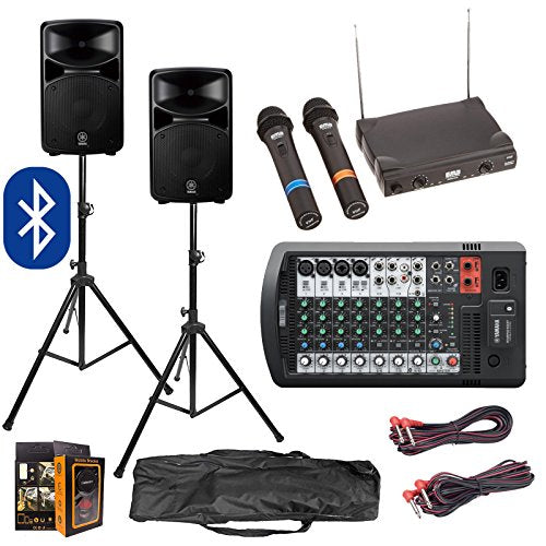 Yamaha Package Bundle – Stagepas 600BT Bluetooth Portable PA System with Speakers Stands, EMB VHF EBM50A Dual Wireless Microphone System, and Gravity Mobile Bracket