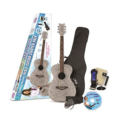 Daisy Rock Pixie Acoustic Silver Sparkle Starter Guitar Pack