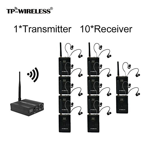TP-WIRELESS 2.4GHz Professional In-ear Digital Wireless Stage audio Monitor System (1 Transmitter and 10 Receivers)