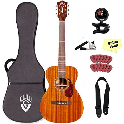 Guild Westerly Collection M-120 Acoustic Guitar Bundle With Lightweight Case, Natural