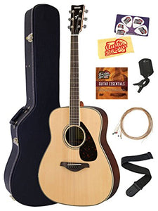 Yamaha FG830 Solid Top Folk Acoustic Guitar - Natural Bundle with Hard Case, Tuner, Strings, Strap, Picks, Austin Bazaar Instructional DVD, and Polishing Cloth