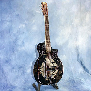 Royall Trifecta Nickel Cutaway Brass Tricone Resonator with Etched Palm Trees