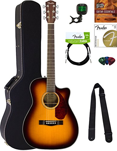 Fender CC-140SCE Concert Acoustic-Electric Guitar - Sunburst Bundle with Hard Case, Cable, Tuner, Strap, Strings, Picks, Austin Bazaar Instructional DVD, and Polishing Cloth
