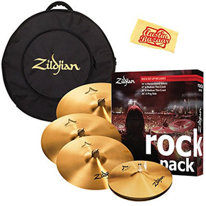 Avedis Zildjian Company A0801R Rock Pack Cymbal Set Bundle with Gig Bag and Austin Bazaar Polishing Cloth