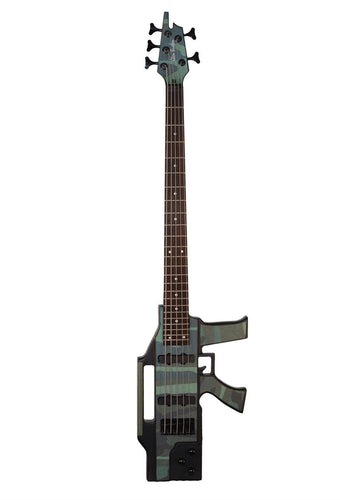 5 String Electric Bass AK47 Machine Gun Camouflage Rifle & Bag