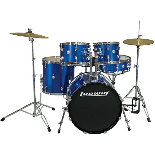 Ludwig 5 Piece Accent Drive Drum Set with Hardware & Cymbals (Deep Blue)